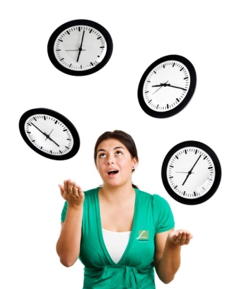 A woman juggling clocks